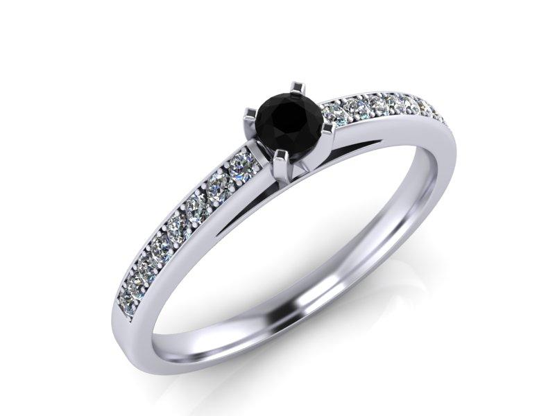 Inel de logodna din aur alb 14K cu diamant de 0,22 ct - MDA059d LA Beruzi