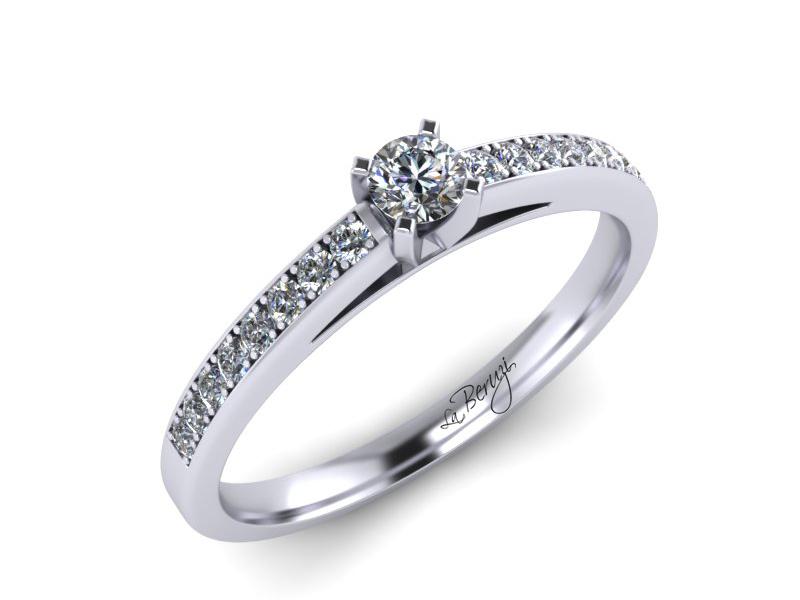 Inel de logodna din aur alb 14K cu diamant de 0,24 ct - MDA059d V1 LA Beruzi
