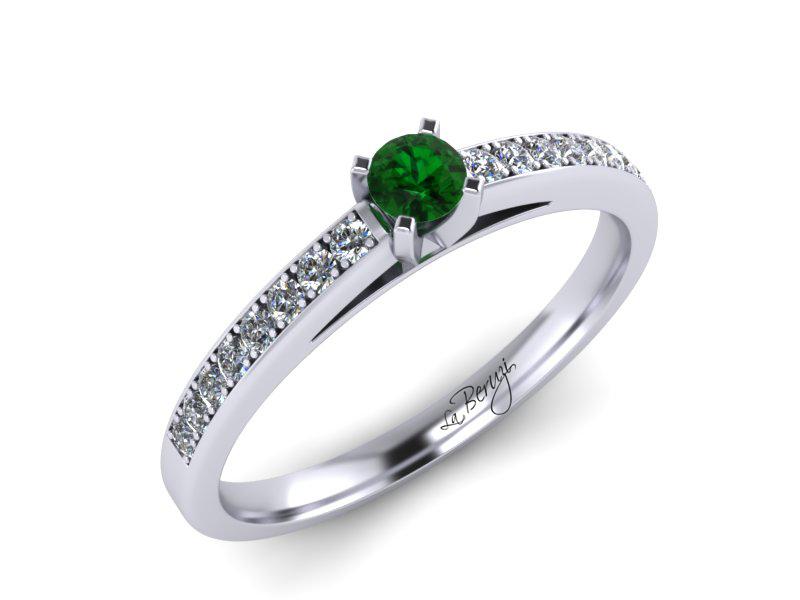 Inel de logodna din aur alb 14K cu Smarald si diamante  -MDN059d V2