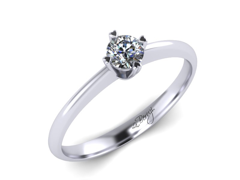 Inel de logodna din aur alb 14K cu diamant de 0,15 ct - MDA061d LA Beruzi