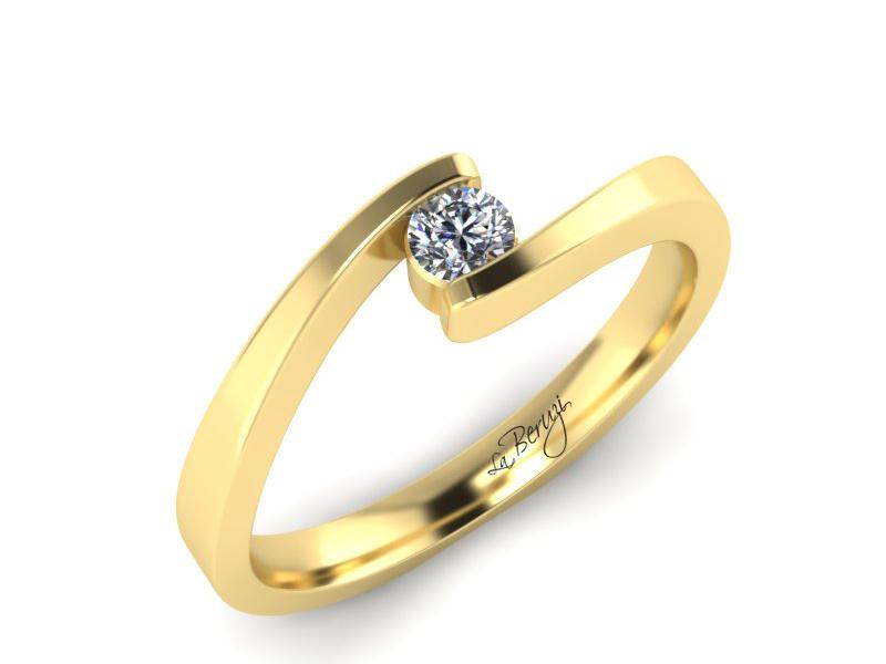 Inel de logodna din aur galben 14K cu diamant de 0,20 ct - MDA072d V3 LA Beruzi