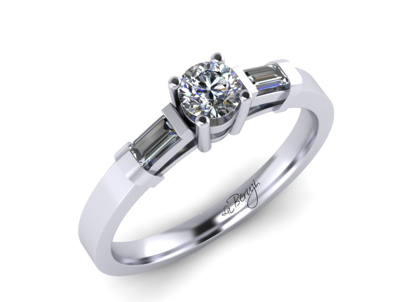 Inel de logodna din aur alb 14K cu diamante de 0,21 ct - MDA067 V1