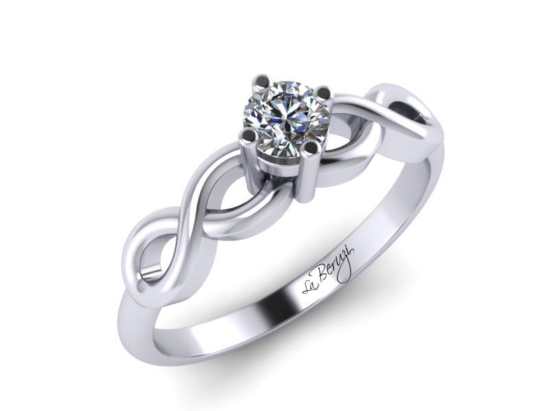 Inel de logodna din aur alb 14K cu diamant de 0,10 ct - MDA 068