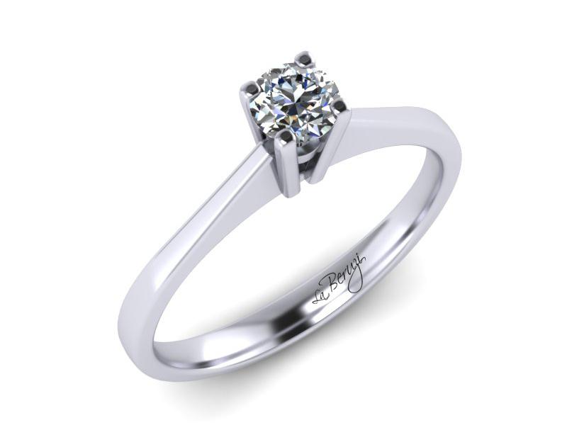 Inel de logodna din aur alb 14K cu Diamant - MDA001d