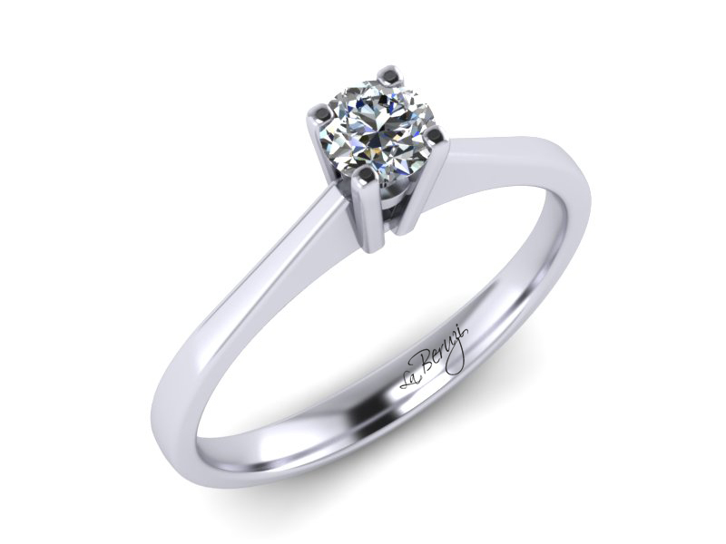 Inel de logodna din aur alb 14K cu Diamant - MDA001d V2