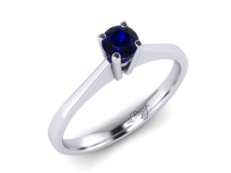 Inel de logodna din aur alb 14K cu Safir - MDS046d