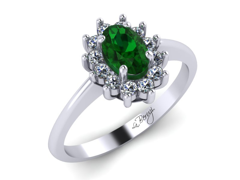 Inel de logodna din aur alb 14K cu Smarald si Diamante  - MDZ012d