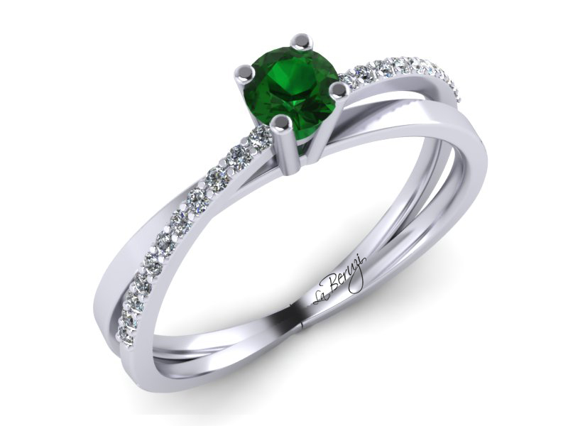 Inel de logodna din aur alb 14K Smarald 3mm cu diamante de 0,14 ct - MDZ053d