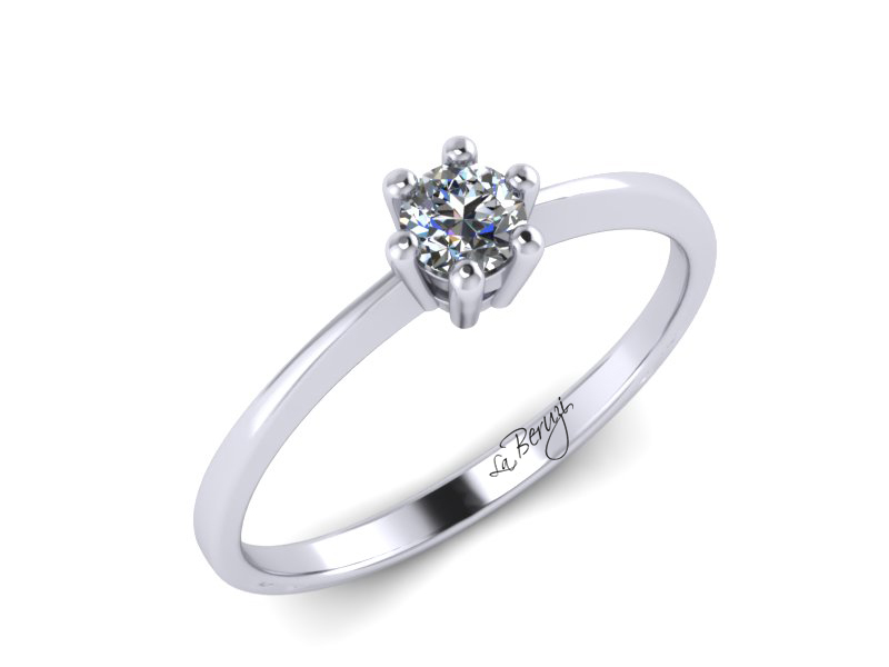 Inel de logodna din aur alb 14K cu diamant de 0,15 ct - MDA040 V2