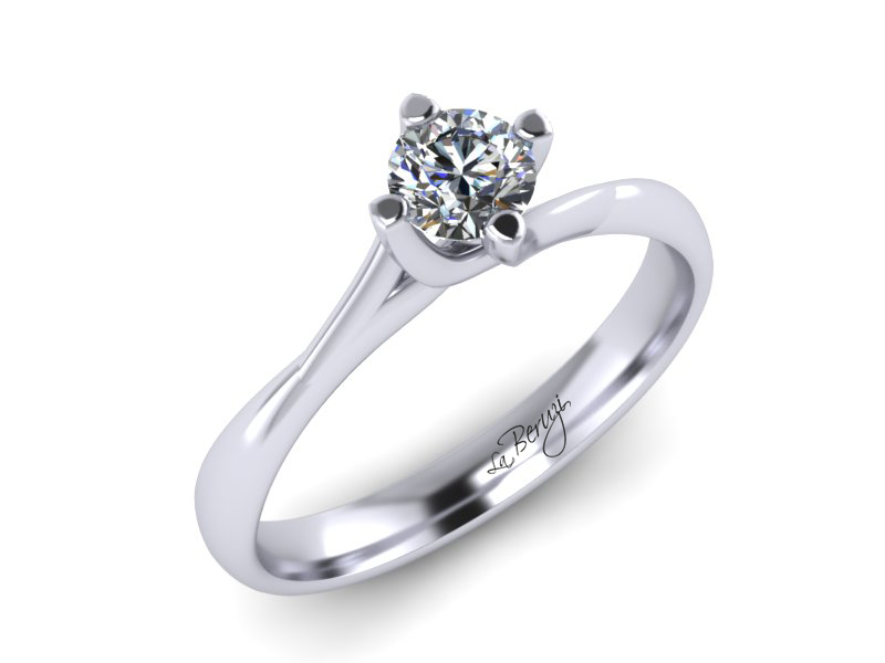 Inel de logodna din aur alb 14K cu diamant de 0,15 ct - MDA033 V2