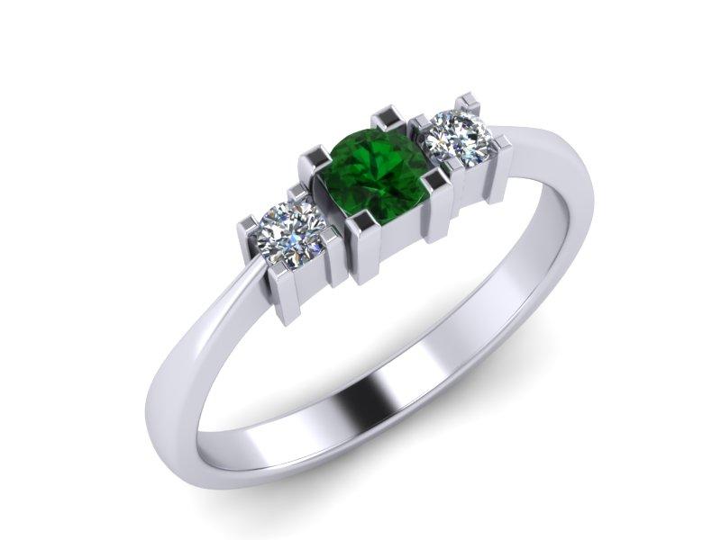 Inel de logodna din aur alb 14K cu Smarald si diamante de 0,08 ct  - MDZ013