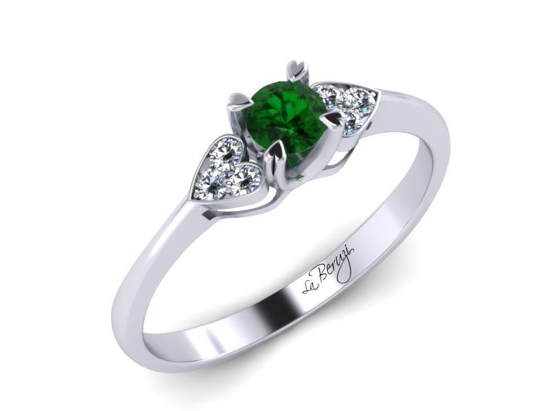 Inel de logodna aur alb 14K cu Smarald si diamante de 0,06ct- MDZ008