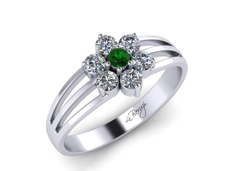 Inel de logodna aur alb 14K cu Zmarald si diamante de 0,18ct - MDZ043