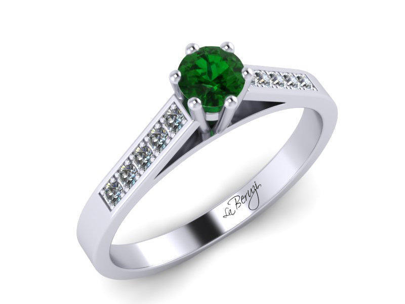 Inel de logodna din aur alb 14K cu Zmarald si diamante de 0,12 ct - MDZ026