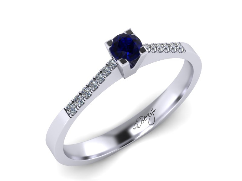 Inel de logodna din aur alb 14K cu Safir si diamante 0,14 ct - MDS038