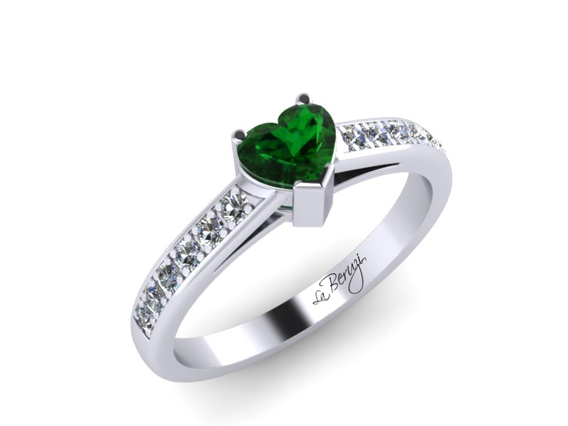 Inel de logodna din aur alb 14K cu Smarald si diamante de 0,12 ct - MDZ005