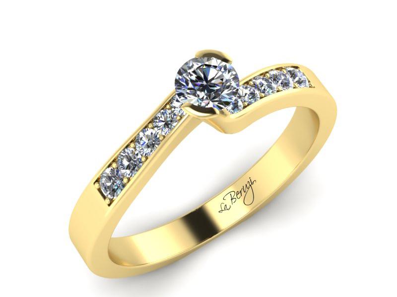 Inel de logodna aur galben 14K  cu diamante de 0,22 ct MDA024 V3