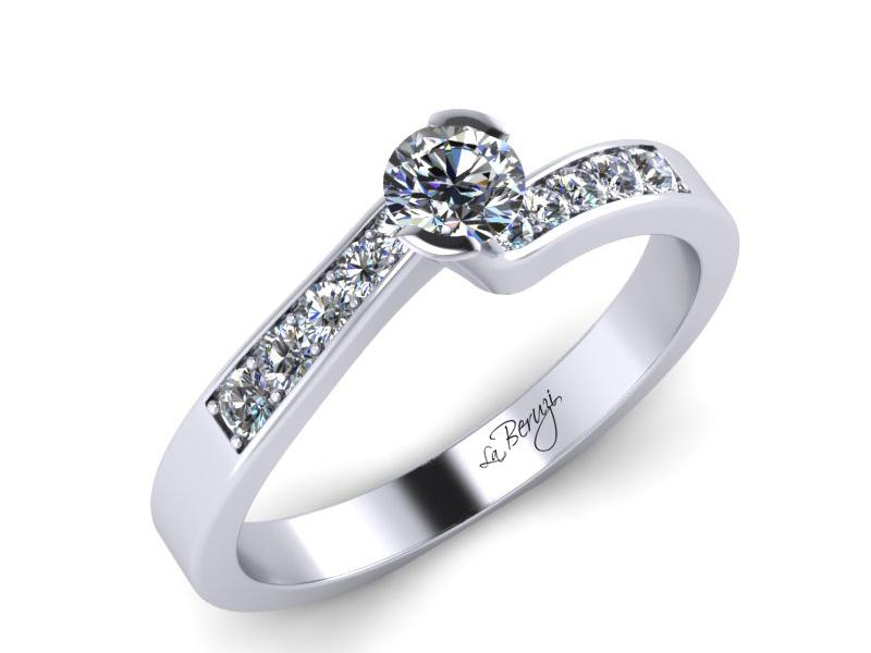 Inel de logodna aur alb 14K  cu diamante de 0,24 ct  MDA024 V1