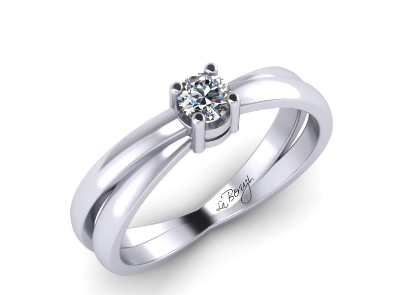 Inel de logodna din aur alb 14K cu diamant de 0,12 ct - MDA028 V1