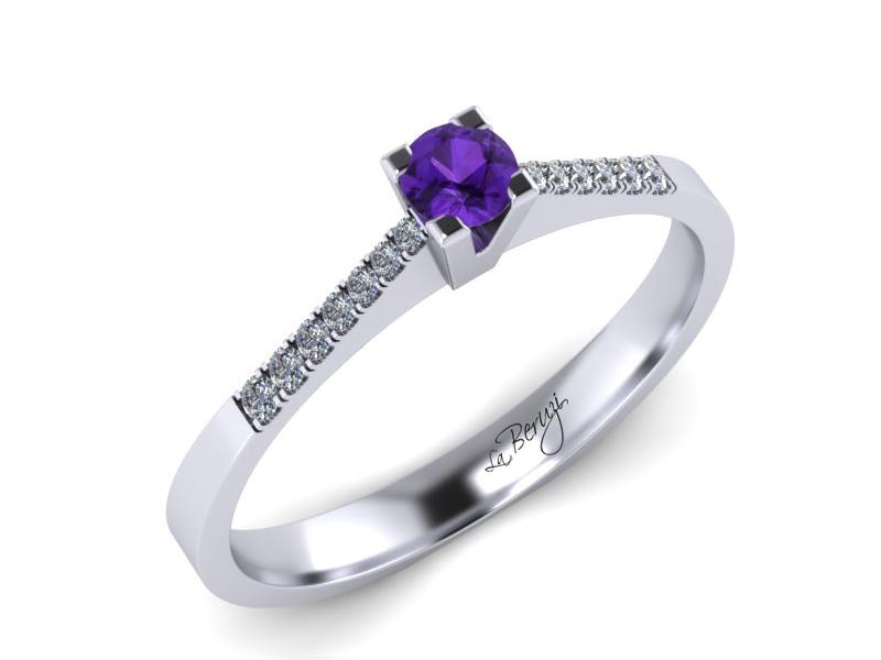 Inel de logodna din aur alb 14K cu Ametist si diamante 0,14 ct - MDM038