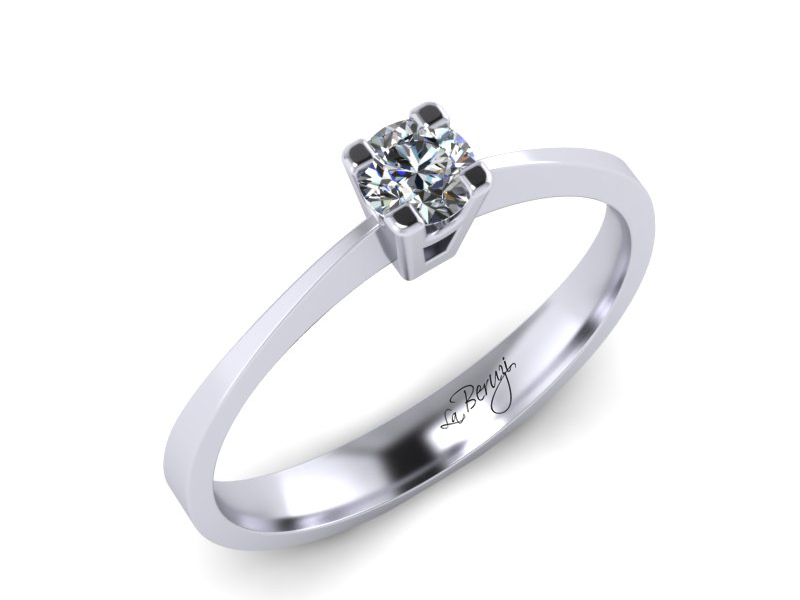 Inel de logodna din aur alb 14K cu diamant de 0,10 ct - MDA009