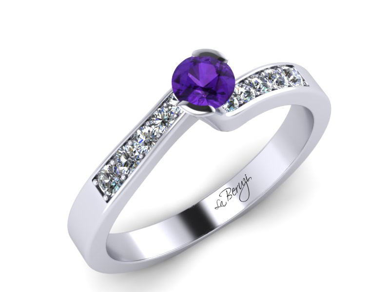 Inel de logodna din aur alb 14K cu Ametist  si diamante de 0,12 ct - MDM024