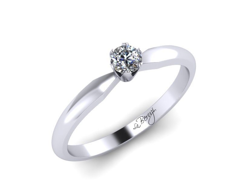 Inel de logodna din aur alb 14K cu diamant de 0,08 ct - MDA042