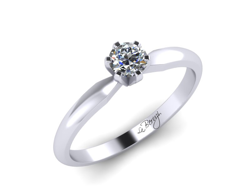 Inel de logodna din aur alb 14K cu diamant de 0,10 ct - MDA032
