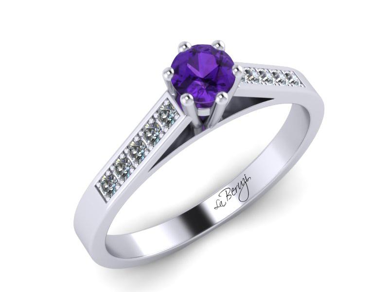 Inel de logodna din aur alb 14K cu diamante de 0,12 ct si ametist 3,3 mm - MDM026