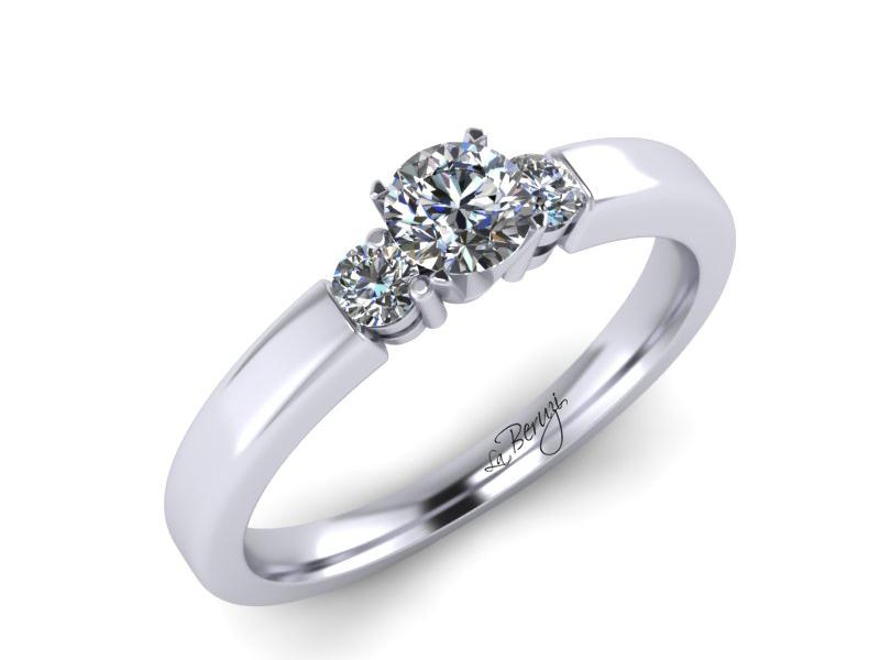 Inel de logodna aur alb 14K cu diamante de 0,18 ct- MDA037