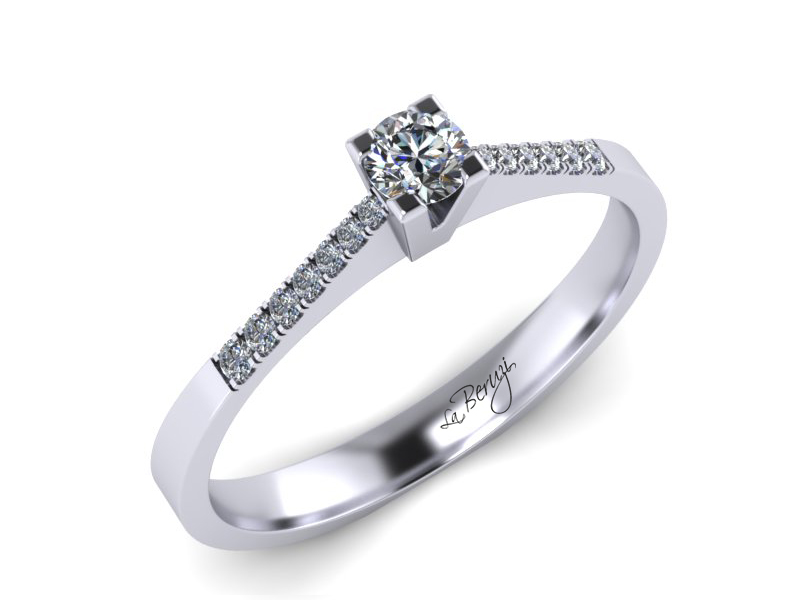 Inel de logodna din aur alb 14K cu diamante 0,24 ct - MDA038