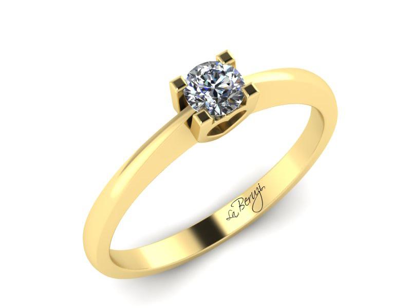 Inel de logodna aur galben 14K 1 x diamant 0,25 - MDA011 V3