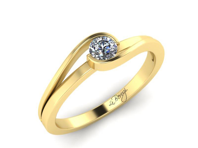 Inel de logodna din aur galben 14K cu diamant de 0,10 ct - MDA012 V3