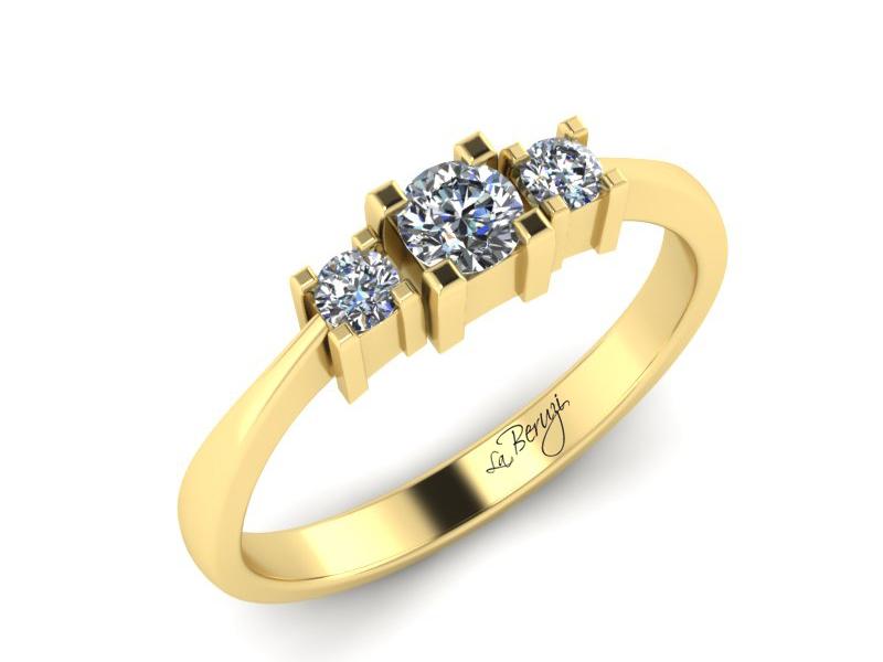 Inel de logodna din aur galben 14K cu diamante de 0,23 ct  - MDA013 V3