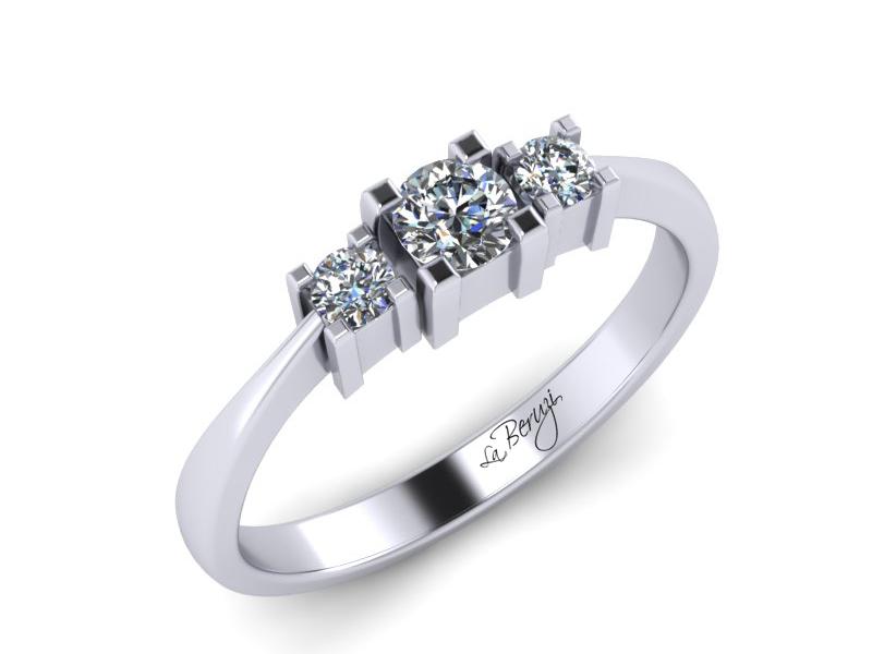 Inel de logodna din aur alb 14K cu diamante de 0,18 ct  - MDA013 V1