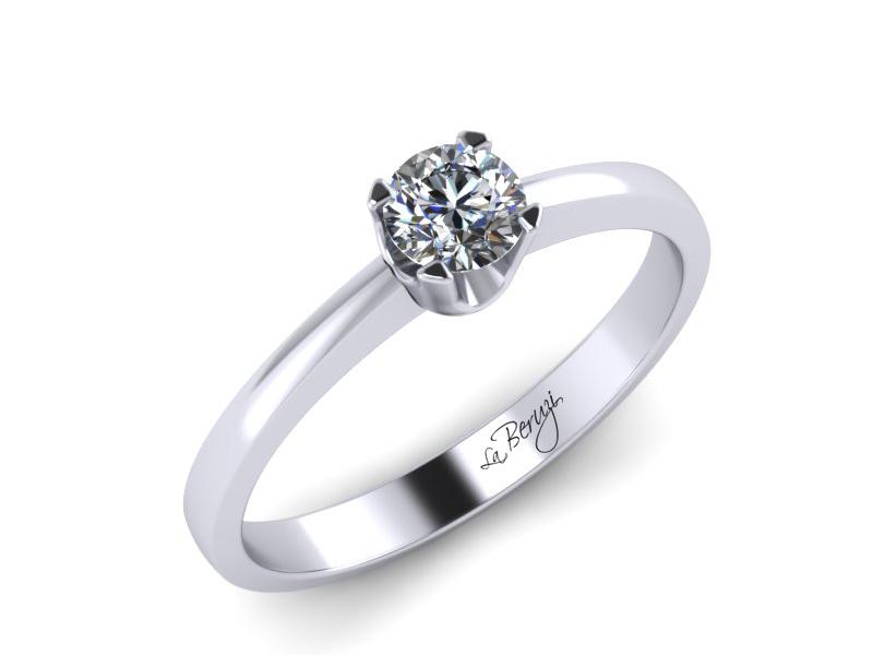 Inel de logodna din aur alb 14K cu diamant de 0,12 ct - MDA025