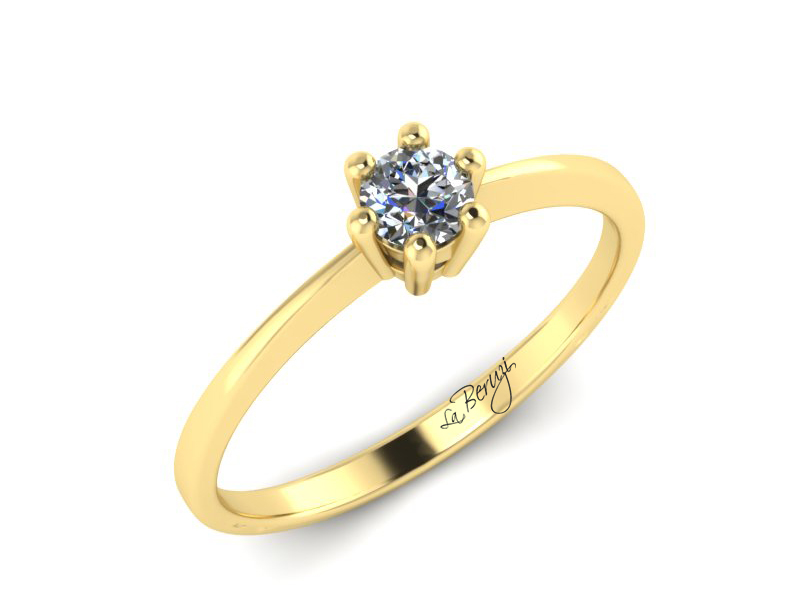 Inel de logodna din aur galben 14K cu diamant de 0,20 ct - MDA040 V3