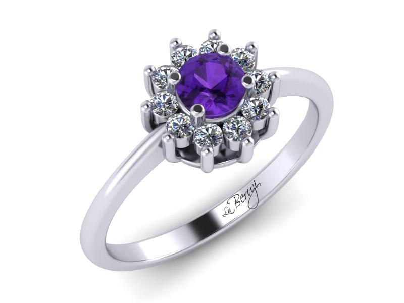 Inel de logodna din aur alb 14K cu Ametist 4mm si diamante de 0,13 ct - MDM030