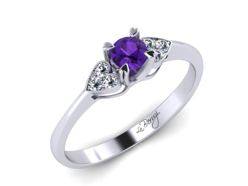 Inel de logodna aur alb 14K cu Ametist si diamante de 0,06ct- MDM008