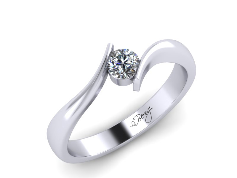 Inel de logodna din aur alb 14K cu diamant de 0,10 ct - MDA029