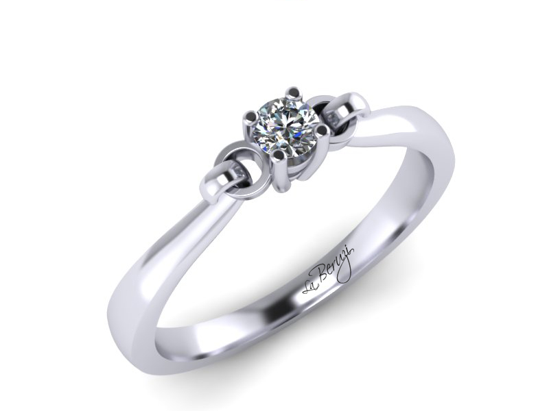 Inel de logodna din aur alb 14K cu diamant de 0,07 ct - MDA019 V1