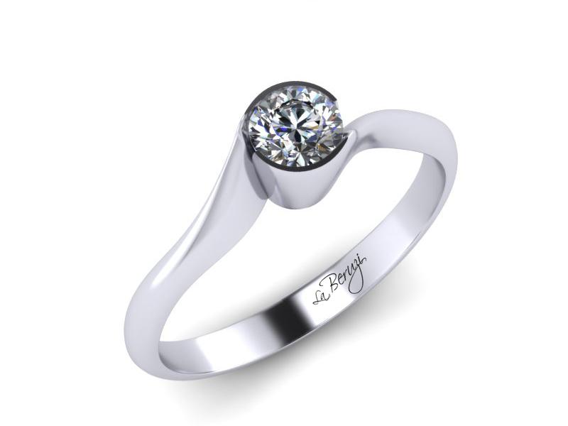 Inel de logodna din aur alb 14K cu diamant de 0,15 ct - MDA020