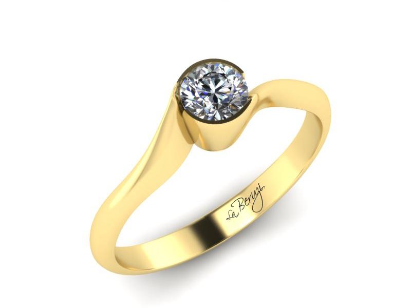 Inel de logodna din aur galben 14K cu diamant de 0,12 ct - MDA020 V3