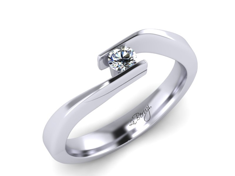Inel de logodna din aur alb 14K cu diamant de 0,15 ct - MDA034 V2