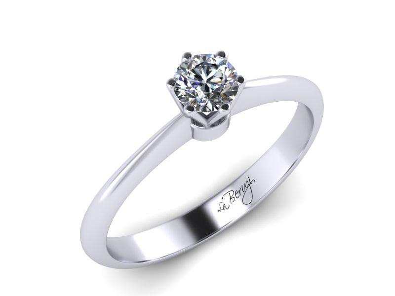 Inel de logodna din aur alb 14K cu diamant de 0,12 ct - MDA027