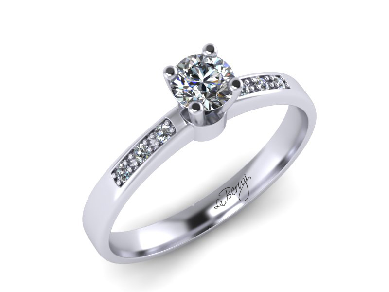 Inel de logodna din aur alb 14K cu diamante de 0,18 ct - MDA022 V1