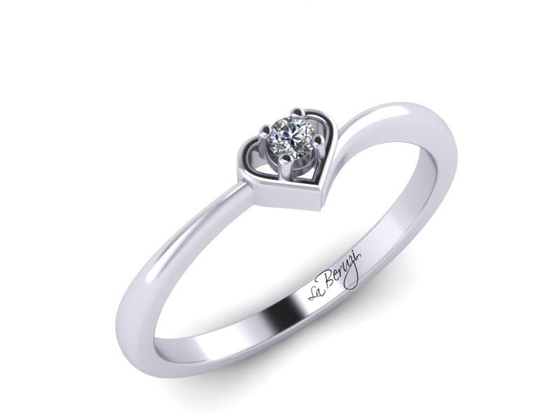 Inel de logodna din aur alb 14K cu diamant de 0,08 ct - MDA018