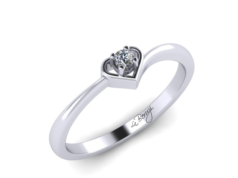 Inel de logodna din aur alb 14K cu diamant de 0,12 ct - MDA018 V2