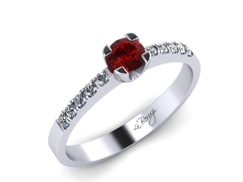 Inel de logodna din aur alb 14K cu Rubin de 3,0mm si diamante de 0,12 ct - MDR002