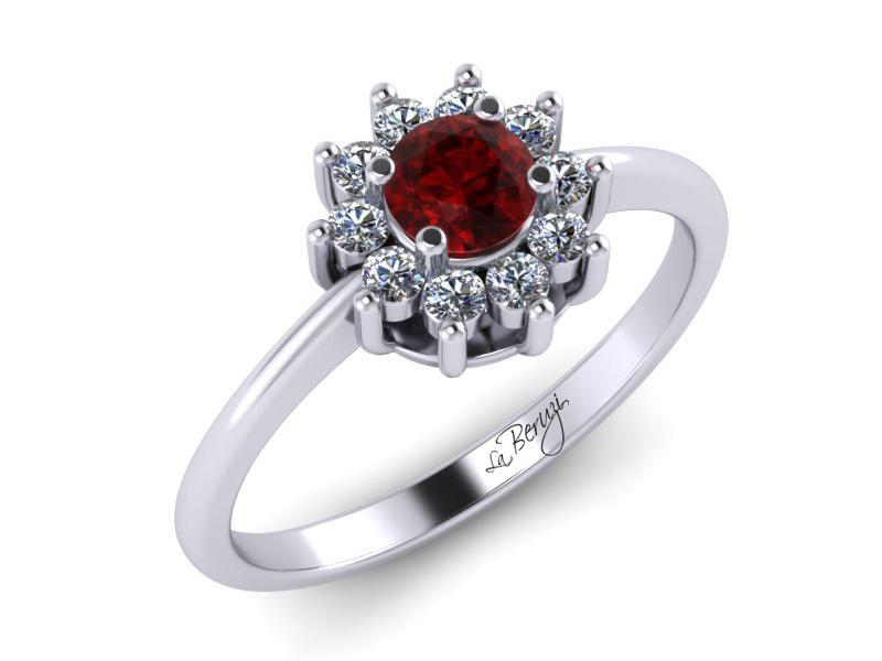 Inel de logodna din aur alb 14K cu Rubin si diamante de 0,13 ct - MDR030